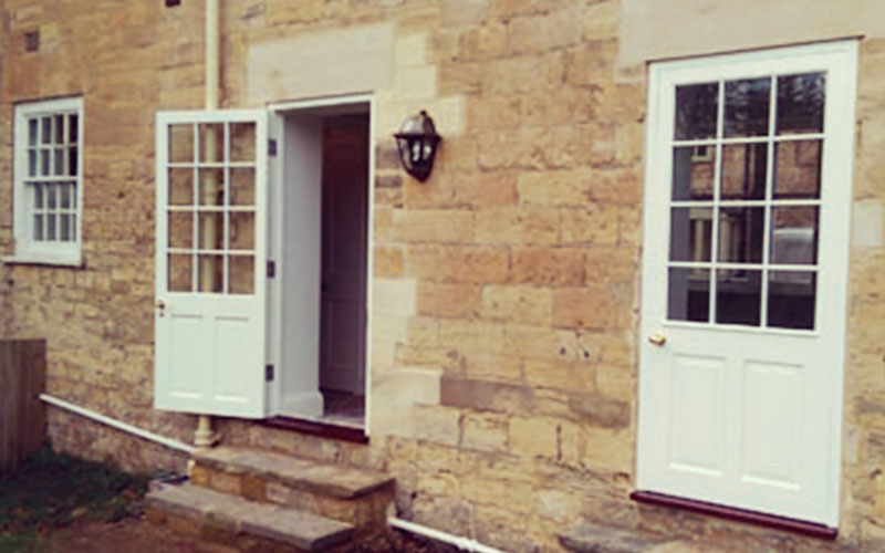 Carter Grice building project in Boston Spa, Leeds. External shot of front door and steps
