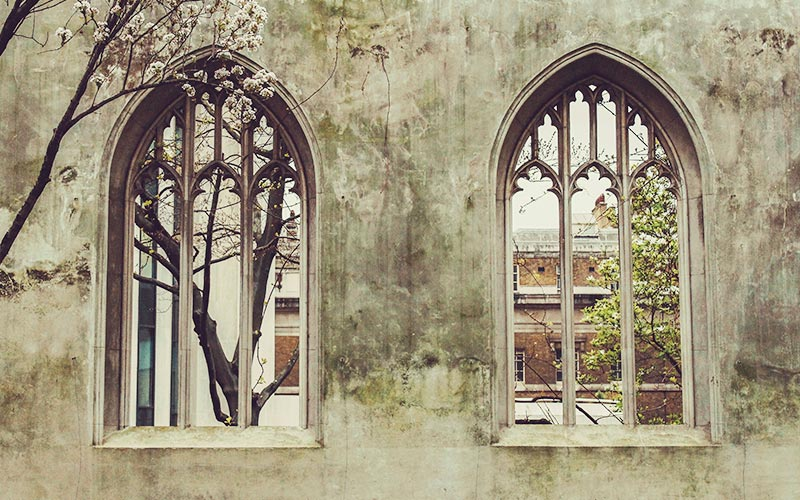 Carter Grice restoration and repair project at Christ Church showing two church windows