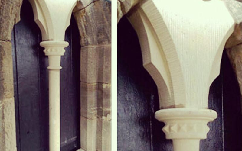 Carter Grice Christ Church repair project featuring close up of new window arches