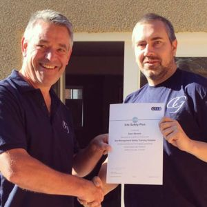 CG Building and Restoration Ltd presenting new foreman Sean Benson with certification